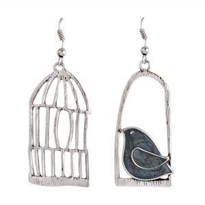 Jewelry - Black birdcage asymmetrical earrings NEW